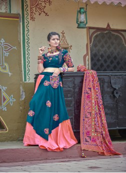 Graceful Blue And Pink festive Navratri Chaniyacholi