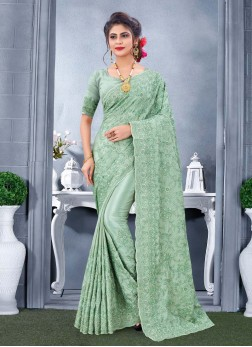 Graceful Embroidery Work With Heavy Zarkan Stone Work On Saree In Pista