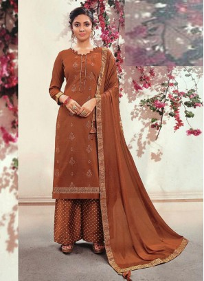 Graceful Fancy Wear Palazzo Style Salwar Suit On Full Indian Red