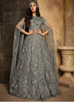 Graceful Net Embroidered Anarkali Salwar Suit