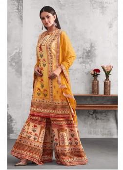 Graceful Printed Festival Palazzo Designer Salwar Suit