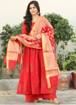 Graceful Red Cotton Readymade Suit