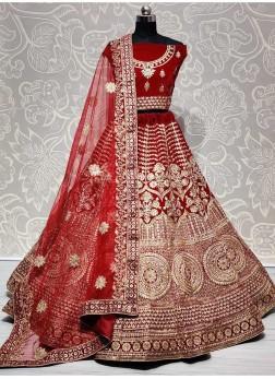 Graceful Red Heavy Embroidered Lehenga Choli