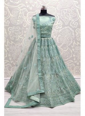 Grandeur Turquoise Corded Embroidery On Net Designer Lehenga Choli