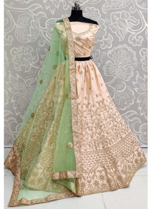 Grandiose Reception Wear Silk On Lehenga Choli In Peach