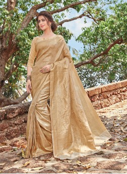 Gratifying Beige Jacquard Silk Traditional Designer Saree