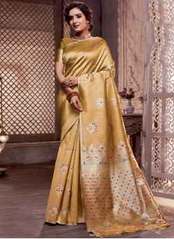 Gratifying Mustard Weaving Art Silk Designer Traditional Saree