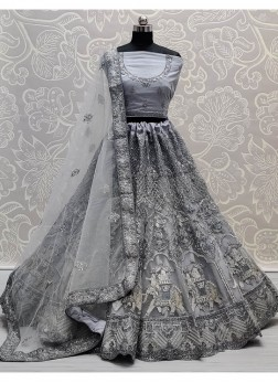Gray Glamorous Very well embroidered full of Zarkan diamond on Net wedding Lehenga choli