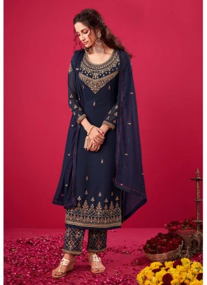 Great Embroidery Work Pant Style Salwar Suit In Navy Blue