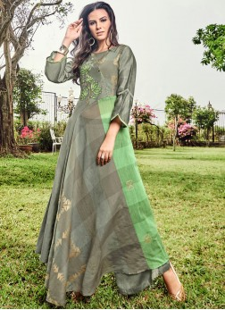 Green and Grey Festival Fancy Fabric Party Wear Kurti