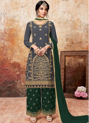Green and Grey Festival Faux Georgette Designer Palazzo Suit