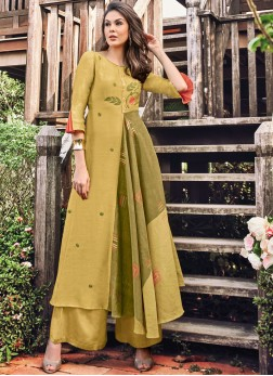 Green and Mustard Print Party Wear Kurti