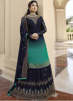 Green and Navy Blue Mehndi Designer Lehenga Choli