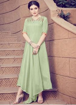 Green Art Silk Handwork Designer Kurti