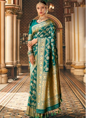 Green Silk Wedding Classic Banarasi Saree
