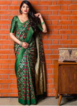 Green Banarasi Silk Ceremonial Designer Saree