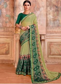 Green Brasso Printed Saree
