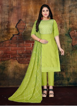 Green Casual Faux Chiffon Designer Salwar Kameez