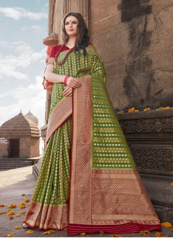 Green Ceremonial Art Silk Traditional Designer Saree