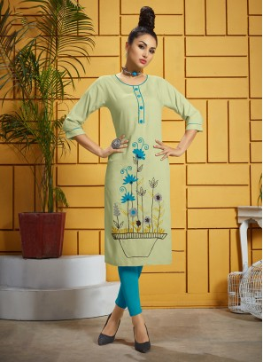 Green Color Casual Kurti