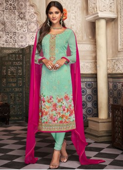 Green Digital Print Georgette Churidar Salwar Suit