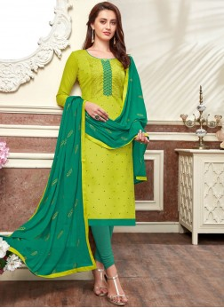 Green Embroidered Casual Churidar Designer Suit