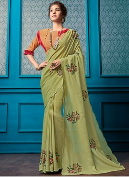 Green Embroidered Faux Georgette Classic Designer Saree