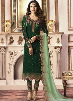 Green Embroidered Georgette Satin Pant Style Suit