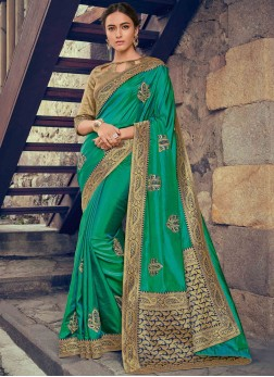 Green Embroidered Mehndi Designer Saree