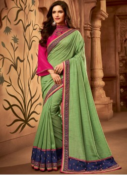 Green Fancy Fabric Embroidered Classic Designer Saree