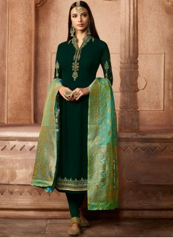 Green Faux Georgette Churidar Designer Suit