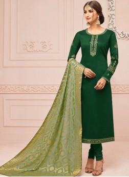Green Festival Cotton Silk Churidar Salwar Suit
