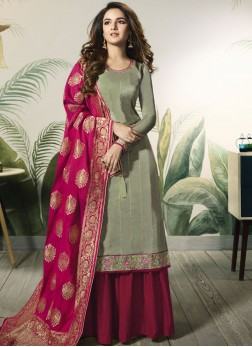 Green Festival Satin Silk Designer Pakistani Suit