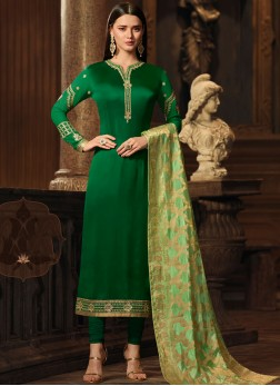 Green Georgette Satin Embroidered Designer Straight Suit