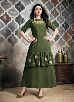 Green Khadi Party Wear Kurti