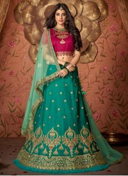 Green Mehndi Designer Lehenga Choli