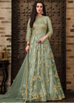 Green Mehndi Net Anarkali Salwar Kameez