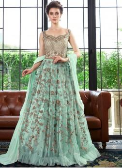 Green Net Wedding Anarkali Suit