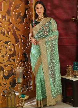Green Organza Classic Saree