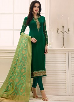 Green Party Faux Georgette Designer Straight Suit