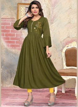 Green Party Rayon Party Wear Kurti
