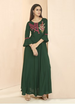 Green Rayon Patchwork Designer Kurti
