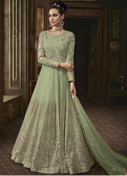 Green Reception Faux Georgette Anarkali Salwar Suit