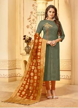 Green Resham Cotton Churidar Salwar Suit