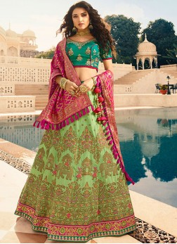 Green Stone Wedding Designer Lehenga Choli