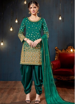 Green Tafeta Silk Designer Patiala Suit
