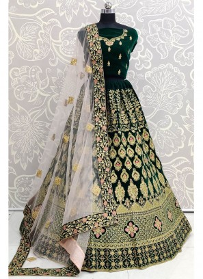 Green Velvet Heavy Embroidered Bridal Lehenga Choli with Dupatta