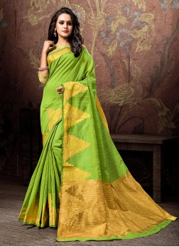 Green Woven Cotton Silk Designer Traditional Saree