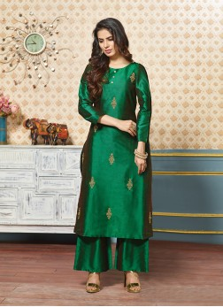 Green Zari Art Silk Party Wear Kurti