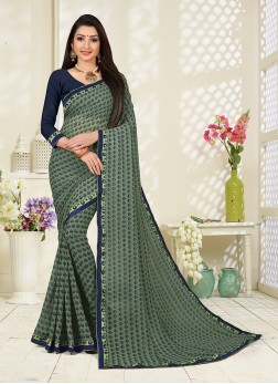 Grey Casual Faux Georgette Printed Saree